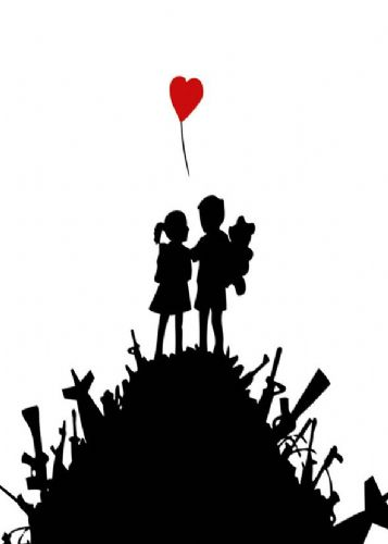 BANKSY - KIDS GUN HILL - white portrait canvas print - self adhesive poster - photo print